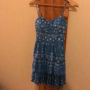 Blue Geometric Print Ruffle Dress